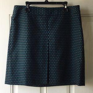 Ann Taylor Loft Black & Teal Polka Dot Skirt
